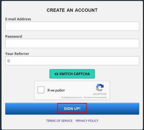 Регистрация в FreeBitco