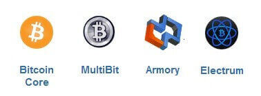 Варианты кошельков Bitcoin Core, MultiBit, Armory и Electrum